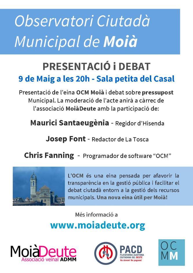 Presentació Observatori Municipal Ciutadà de Moià